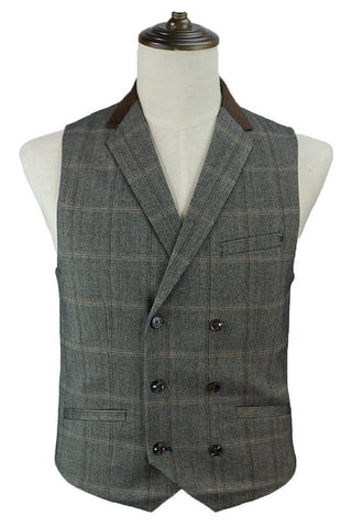 Mens Steampunk Waistcoat, Connell Brown Double Breasted Waistcoat - Angel Clothing