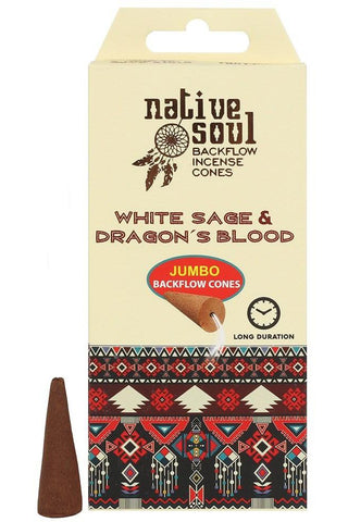 Native Soul White Sage and Dragons Blood Incense Backflow Cones | Angel Clothing