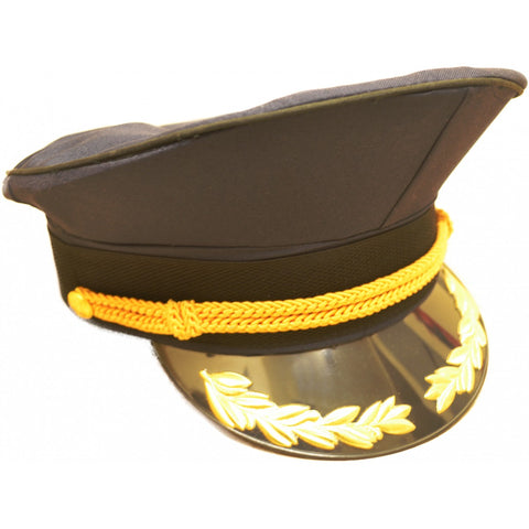 Navy Blue Military Peaked Cap with Black and Gold Trim - Angel Clothing