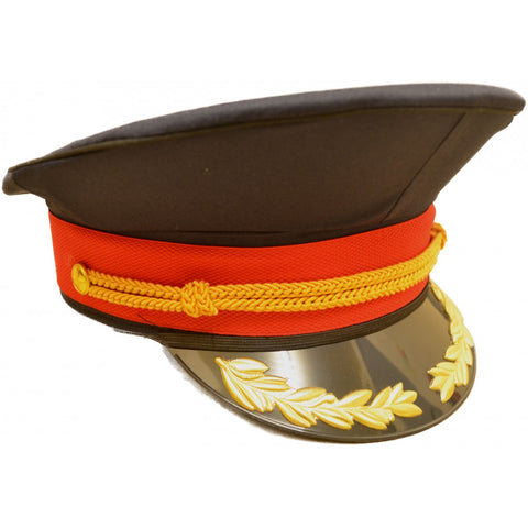 Navy Blue Military Peaked Cap with Red and Gold Trim - Angel Clothing