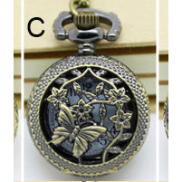 Necklace Steampunk Pocket Watch with Butterfly PW-C - Angel Clothing