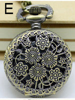 Necklace Steampunk Pocket Watch with Mini Flowers Design PW-E | Angel Clothing
