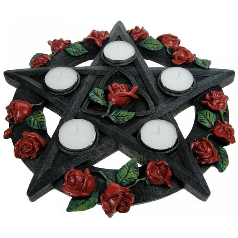 Pentagram Rose Tealight Holder 29.5cm | Angel Clothing