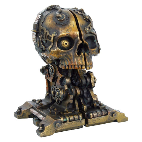 Nemesis Steampunk Book Ends, Cranial Steam Book Storage, 18.5cm | Angel Clothing