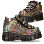 New Rock Vintage Flower Holo Shoes M-106N-S73 | Angel Clothing
