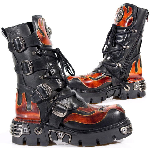 New Rock Flame Boots with Demon Skull M.107-S1 | Angel Clothing