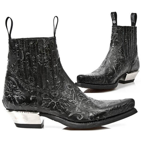 New Rock Black Vintage Flower Ankle Cowboy Boots M.7953-S21 | Angel Clothing