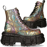 New Rock Vintage Flower Multi Holo Boots M.MILI084C-S21 | Angel Clothing