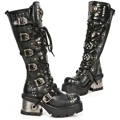 New Rock M.161 S1 Reactor Demon Flame High Boots (Black