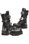 New Rock Silver Flame Bat Boots M.195-S2 | Angel Clothing