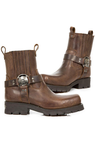 New Rock Brown Motorcycle Ankle Boots | Angel Clothing
