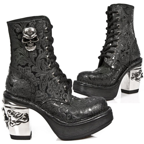 New Rock NRK Skull Vintage Flower Boots M.8358-S1 | Angel Clothing