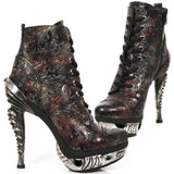 New Rock Red Vintage Flower Ankle Boots | Angel Clothing