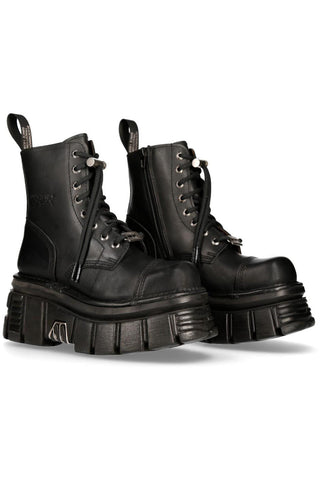 New Rock Black Combat Boots M.NEWMILI083-S21 | Angel Clothing
