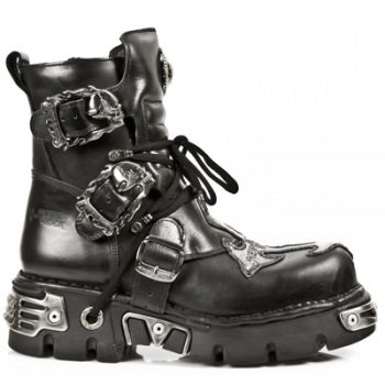 New Rock Boots with Silver Cross, Black Ankle Boot 407 - Angel Clothing