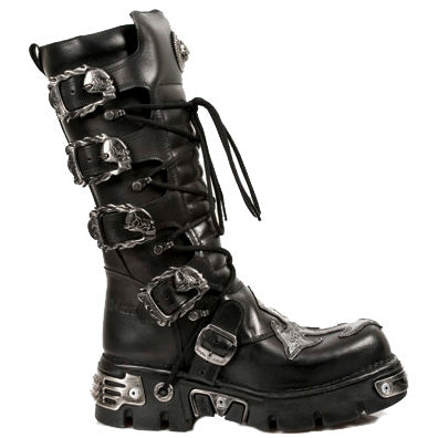 New Rock Boots Black High Calf Boots, Silver Cross - 403 | Angel Clothing