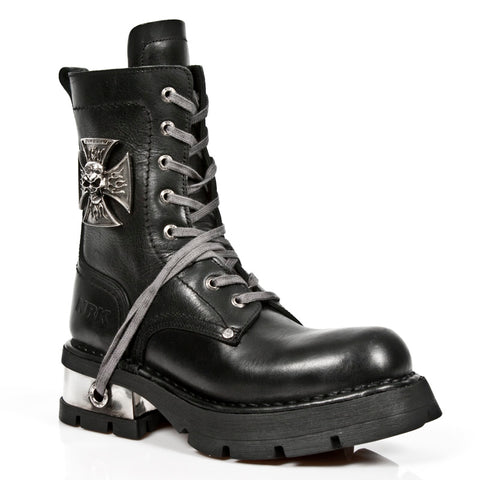 New Rock Black Leather Biker Boots with Skull Cross Badge M.1623 | Angel Clothing