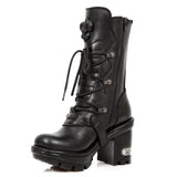 New Rock Black Leather Boots, NEOTYRE05 Neotyre Sole | Angel Clothing