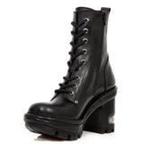 New Rock Black Leather Boots, NEOTYRE07, Neotyre Sole | Angel Clothing