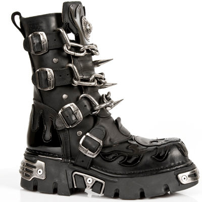New Rock Boots Skulls Chains and Spikes, 727 Boots Reactor Sole Last Pairs - Angel Clothing