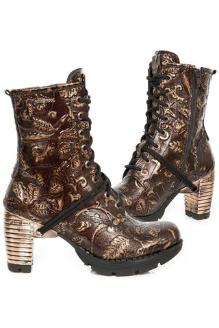 New Rock Brown Vintage Flower Ankle Boots M.TR001-S5 | Angel Clothing