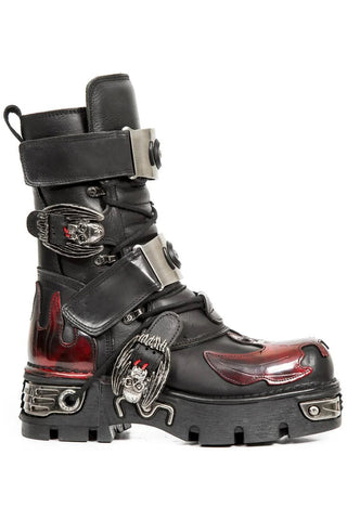 New Rock Dark Red Bat and Flames Boots, M.195-S1 | Angel Clothing