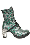 New Rock Green Metallic Vintage Flower Ankle Boots M.TR001-S7 | Angel Clothing