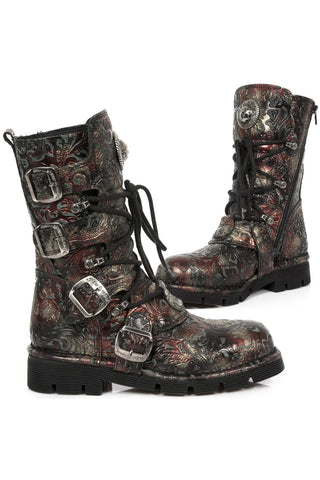 New Rock Red Vintage Flower Comfort Boots M.1473-S42 | Angel Clothing