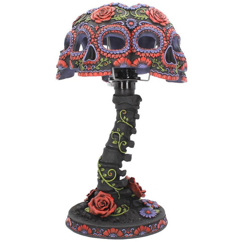 Night Blooms Skull Lamp, Gothic Table Lamp - Angel Clothing