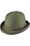 Olive Green Wool Felt Steampunk Bowler Hat | Angel Clothing