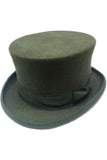 Olive Green Wool Felt Steampunk Top Hat | Angel Clothing