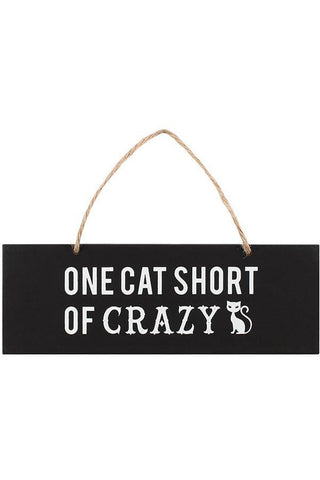 One Cat Short of Crazy Wall Sign | Angel Clothing