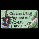 One Nice Witch And One Old Wizard Live Here Smiley Fridge Magnet | Angel Clothing