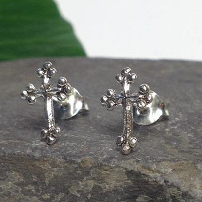 Seventh Sense Gothic Cross Stud Earrings Silver | Angel Clothing
