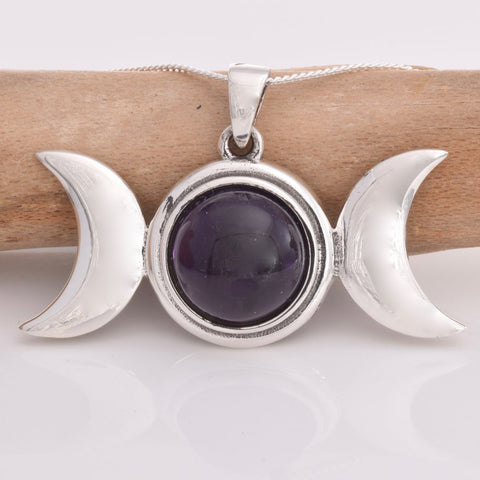 Seventh Sense Triple Moon Pendant with Amethyst Silver | Angel Clothing