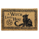 Pagan Gothic Door Mat, A Witch Lives Here Doormat 45x75cm | Angel Clothing