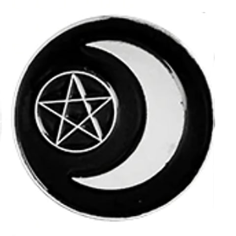 Crescent Moon Pentagram Gothic Pin | Angel Clothing