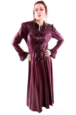 Phaze - Rubber Look Agnes Coat - Wine | Angel Clothing