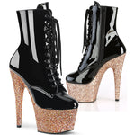 Pleaser ADORE-1020LG Boots Rose Gold Glitter | Angel Clothing