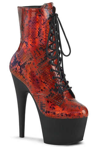 Pleaser ADORE 1020SP Red Holo Snake Print Boots | Angel Clothing
