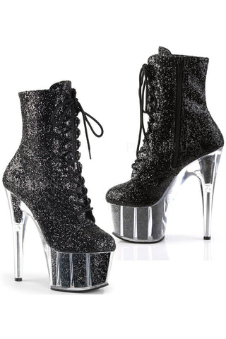 Pleaser Black Glitter ADORE 1020G Boots | Angel Clothing