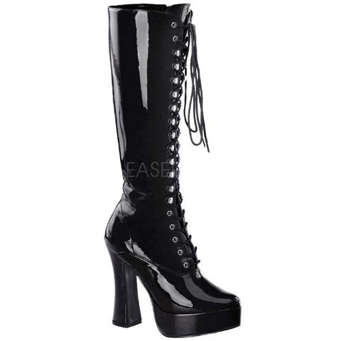 Pleaser Boots Black Patent PVC Gothic Boots - Electra 2020 | Angel Clothing