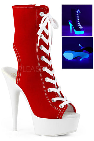 Pleaser DELIGHT-1016SK Boots Red Canvas | Angel Clothing