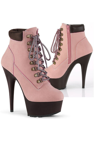 Pleaser DELIGHT 600TL 02 Boots Pink Nubuck | Angel Clothing