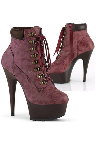 Pleaser DELIGHT 600TL 02 Boots Burgundy | Angel Clothing