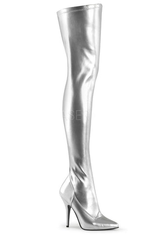 Pleaser SEDUCE 3000 Boots Silver | Angel Clothing
