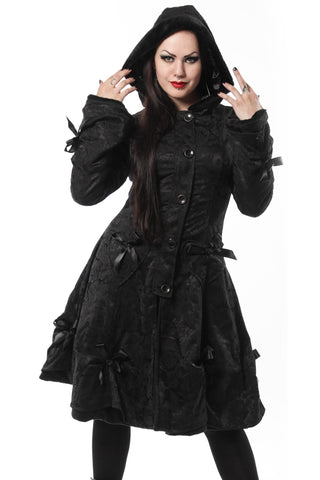 Poizen Alice Black Rose Coat - Angel Clothing