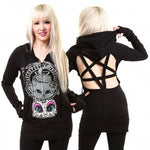 Poizen Cupcake Cult Yes No Cat Hoodie | Angel Clothing