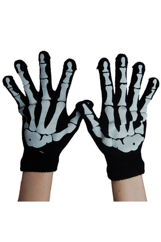 Poizen Industries Black/White Skeleton Hand Gloves with Fingers - Angel Clothing
