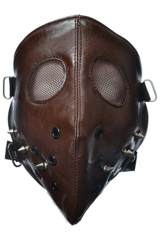 Poizen Industries Brown Hannibal Full Face Mask with Spikes | Angel Clothing